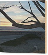 Branches Over The Beach Wood Print