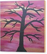 Branching Out Silhouette  Wood Print