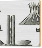 Brasilia Landmarks Wood Print