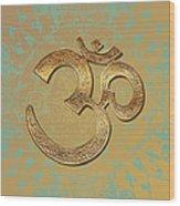 Gold Brass Om Mandala Wood Print