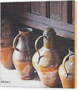 Brass Pots From 16th Century Columbus Home Wood Print