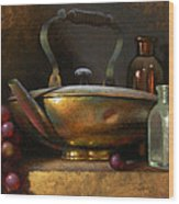 Brass Teapot And Antique Glass Wood Print by Timothy Jones