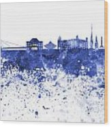 Bratislava Skyline In Blue Watercolor On White Background Wood Print