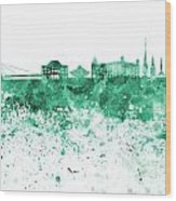Bratislava Skyline In Gree Watercolor On White Background Wood Print