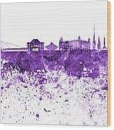 Bratislava Skyline In Purple Watercolor On White Background Wood Print