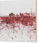 Bratislava Skyline In Red Watercolor On White Background Wood Print