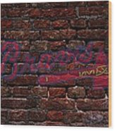 Braves Baseball Graffiti On Brick  Wood Print
