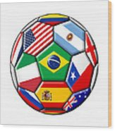 Brazil 2014 - Soccer With Various Flags Wood Print