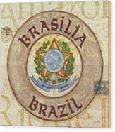 Brazil Coat Of Arms Wood Print