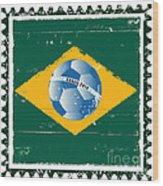Brazil Flag Like Stamp In Grunge Style Wood Print