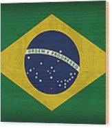 Brazil Flag Vintage Distressed Finish Wood Print