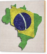 Brazil Map Art With Flag Design Wood Print