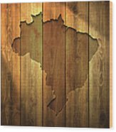 Brazil Map On Lit Wooden Background Wood Print