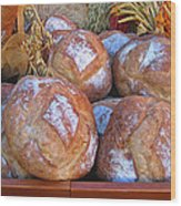 Bread At A French Market Wood Print