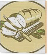 Bread Loaf With Knife And Board Woodcut Wood Print