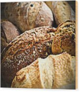 Bread Loaves Wood Print by Elena Elisseeva