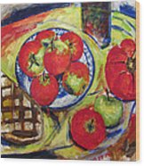 Bread Tomato And Apples Wood Print by Vladimir Kezerashvili