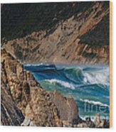 Breakers At Pt Reyes Wood Print by Bill Gallagher