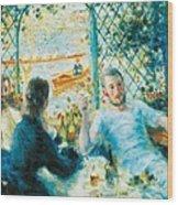 Breakfast By The River Wood Print by Pierre-Auguste Renoir