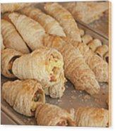Breakfast Croissant Wood Print
