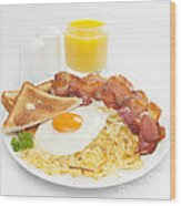 Breakfast Hash Browns Bacon Fried Egg Toast Orange Juice Wood Print by Colin and Linda McKie