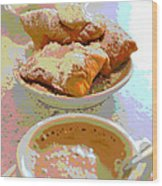 Breakfast Of Champions At Cafe Du Monde Wood Print
