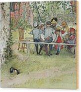 Breakfast Under The Big Birch Wood Print