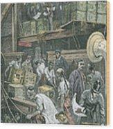 Breaking Bulk On Board A Tea Ship Wood Print