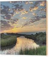 Breaking Dawn Along The Bayou Wood Print