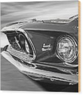 Breaking The Sound Barrier - Mach 1 428 Cobra Jet Mustang In Black And White Wood Print