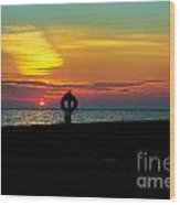 Breakwall Sunset Wood Print