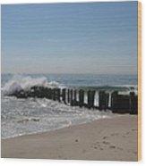 Breakwater At New Jersey Shore Wood Print