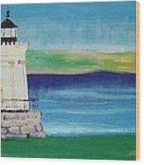 Breakwater Lighthouse Wood Print