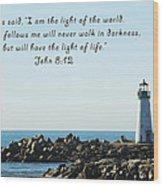 Breakwater Lighthouse Santa Cruz With Verse  Wood Print