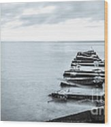 Breakwater Monochrome Wood Print