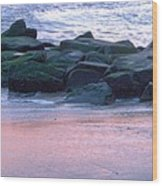 Breakwater Rocks At Sunset Beach Cape May Wood Print