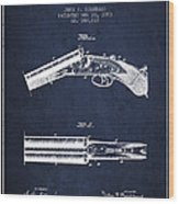 Breech Loading Gun Patent Drawing From 1883 - Navy Blue Wood Print
