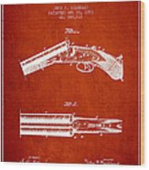 Breech Loading Gun Patent Drawing From 1883 - Red Wood Print