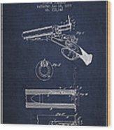 Breech Loading Shotgun Patent Drawing From 1879 - Navy Blue Wood Print