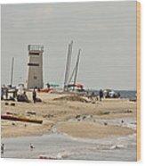 Breezy Point Lighthouse Bayside Wood Print