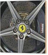 Brembo Carbon Ceramic Brake On A Ferrari F12 Berlinetta Wood Print