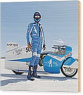 Brett De Stoop And His Suzuki Gt 750 Wood Print