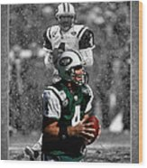 Brett Favre Jets Wood Print
