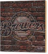 Brewers Baseball Graffiti On Brick  Wood Print