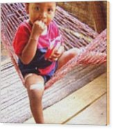 Bribri Indian Child In A Hammock Wood Print