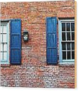 Brick And Shutters Wood Print