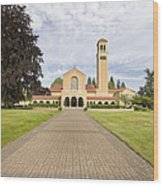Brick Path To Mt Angel Abbey Church Entrance Wood Print