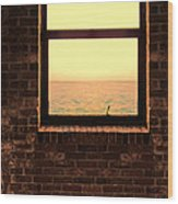 Brick Window Sea View Wood Print