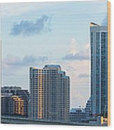 Brickell Key And Miami Skyline Wood Print