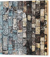 Bricks Of Turquoise And Gold Wood Print